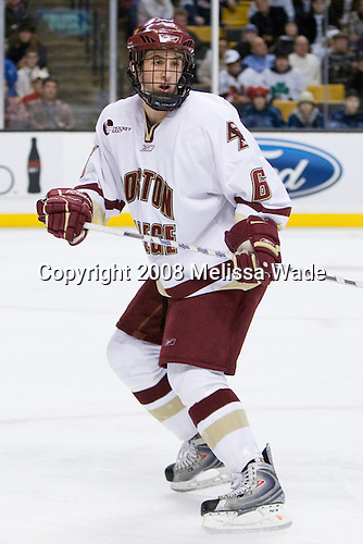 Tim Kunes (BC 6) -  The Boston College Eagles defeated the Boston University Terriers 4-3 in overtime in their first Monday Beanpot matchup on February 4, 2008 at the TD Banknorth Garden in Boston, Massachusetts.