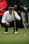 Bradley Dredge lines up his putt on the 9th green during the final round of the Irish Open on 20th of May 2007 at the Adare Manor Hotel & Golf Resort, Co. Limerick, Ireland. (Photo by Eoin Clarke/NEWSFILE)