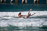 MARK OCCHILUPO (AUS) and DONAVON FRANKENREITER (USA) Surfing at DURANBAH BEACH, Australia ,   Photo: joliphotos.com