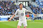 15.02.2020, PreZero-Arena, Sinsheim, GER, 1. FBL, TSG 1899 Hoffenheim vs. VFL Wolfsburg, <br /> <br /> DFL REGULATIONS PROHIBIT ANY USE OF PHOTOGRAPHS AS IMAGE SEQUENCES AND/OR QUASI-VIDEO.<br /> <br /> im Bild: Wout Weghorst (VfL Wolfsburg #9)<br /> <br /> Foto © nordphoto / Fabisch