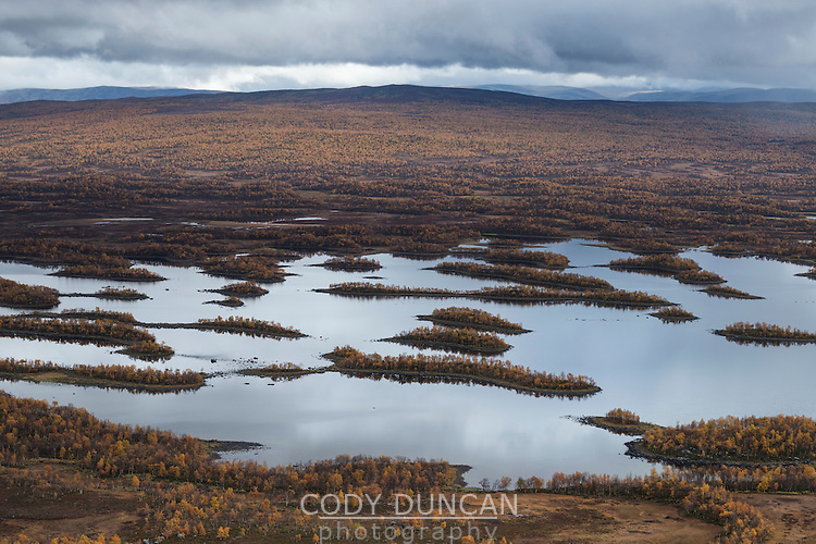 Islands and autumn colors of lake Tärnasjön, Kungsleden trail, Lapland, Sweden