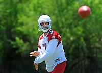 May 19, 2009; Tempe, AZ, USA; Arizona Cardinals quarterback Matt Leinart throws a pass during organized team activities at the Cardinals practice facility. Mandatory Credit: Mark J. Rebilas-