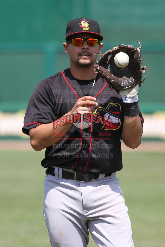 Quad Cities River Bandits second baseman Alex Hernandez (6) warms up prior to a game against the Wisconsin Timber Rattlers on May 2nd, 2015 at Fox Cities Stadium in Appleton, Wisconsin.  Quad Cities defeated Wisconsin 5-2.  (Brad Krause/Four Seam Images)