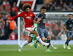 Marouane Fellaini of Manchester United in action with Pablo Hernandez of Celta Vigo during the Europa League Semi Final 2nd Leg match at Old Trafford Stadium, Manchester. Picture date: May 11th 2017. Pic credit should read: Simon Bellis/Sportimage
