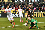 08.02.2019, Rheinenergiestadion, Köln, GER, DFL, 2. BL, VfL 1. FC Koeln vs FC St. Pauli, DFL regulations prohibit any use of photographs as image sequences and/or quasi-video<br /> <br /> im Bild Matthias Lehmann (33, 1.FC Köln / Koeln) pariert den Ball vor den herannahenden Simon Terodde (#9, 1.FC Köln / Koeln)  <br /> <br /> Foto © nph/Mauelshagen