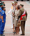 Spain's King Juan Carlos (r), Queen Sofia (2r), Prince Felipe (2l), and Princess Letizia greets the soldiers during a military parade marking the Armed Forces Day on June 2, 2012 in Valladolid.(ALTERPHOTOS/Acero)