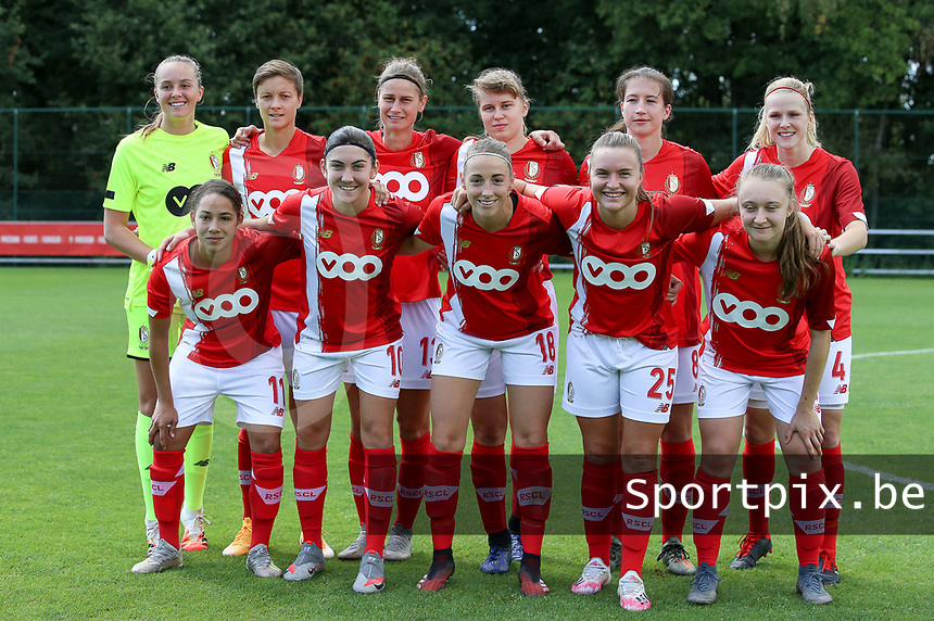 Top left to right; Standard's goalkeeper Lisa Lichtfus, captain Maurane Marinucci, Ellen Charlier, Aster Janssens, Sanne Schoenmakers, Merel Bormans, front row left to right Lola Wajnblum, Noemie Gelders, Charlotte Cranshoff, Davinia Vanmechelen and Gwyneth Vanaenrode pose for team picture before a female soccer game between Standard Femina de Liege and Oud Heverlee Leuven on the second matchday of the 2020 - 2021 season of Belgian Scooore Women s SuperLeague , saturday 5 th of September 2020  in Angleur , Belgium . PHOTO SPORTPIX.BE | SPP | SEVIL OKTEM