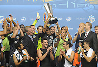 MLS All-Stars captain Dwayne De Rosario (7) lifts the trophy celebrating the victory. The MLS All Stars Team defeated Chelsea FC 3-2 at PPL Park Stadium, Wednesday 25, 2012.