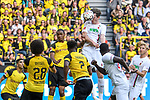 06.10.2018, Signal Iduna Park, Dortmund, GER, DFL, BL, Borussia Dortmund vs FC Augsburg, DFL regulations prohibit any use of photographs as image sequences and/or quasi-video<br /> <br /> im Bild Michael Gregoritsch (#11, FC Augsburg) macht das Tor zum 3:3<br /> <br /> Foto &copy; nph/Horst Mauelshagen