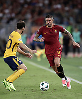 Football Soccer: UEFA Champions League AS Roma vs Atletico Madrid Stadio Olimpico Rome, Italy, September 12, 2017. <br /> Roma's Aleksandar Kolarov (r) in action with Atletico Madrid's Juanfran (l) during the Uefa Champions League football soccer match between AS Roma and Atletico Madrid at at Rome's Olympic stadium, September 12, 2017.<br /> UPDATE IMAGES PRESS/Isabella Bonotto