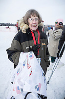 Joanne Potts at the restart of the Iditarod sled dog race in Willow, Alaska Sunday, March 3, 2013.