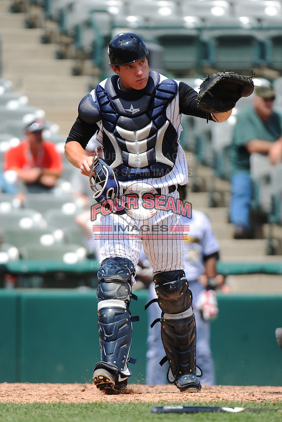 Trenton Thunder catcher Jeff Farnham (41) during game against the Reading Fightin Phils at ARM & HAMMER Park on July 8, 2013 in Trenton, NJ.  Trenton defeated Reading 10-6. ( Tomasso DeRosa/Four Seam Images)