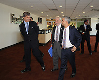 USA Bid Committee for the 2018 or 2022 FIFA World Cup from right to left Sunil Gulati ( Chairman of the USA Bid Committee) Harold Mayne-Nicholls (Head of FIFA Inspection) far left entering FedEx Field  , Wednesday  September 8, 2010.