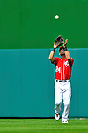 24 September 2011: Washington Nationals outfielder Rick Ankiel pulls in a fly ball during game action against the Atlanta Braves at Nationals Park in Washington, DC. The Nationals defeated the Braves 4-1 to even up their 3-game series. Mandatory Credit: Ed Wolfstein Photo