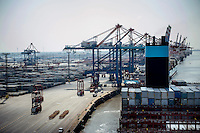 The Mary Maersk, the largest container ship in the world, arrives at Bremerhaven.