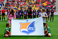 HARRISON, NJ - SEPTEMBER 29: Sky Blue FC flag kids during a game between Orlando Pride and Sky Blue FC at Red Bull Arena on September 29, 2019 in Harrison, New Jersey.