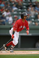 Second baseman Kervin Suarez (36) of the Greenville Drive bats in a game against the Rome Braves on Saturday, April 14, 2018, at Fluor Field at the West End in Greenville, South Carolina. Rome won, 4-0. (Tom Priddy/Four Seam Images)
