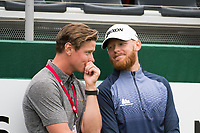 Sebastian Soderberg (SWE) and his caddie during during prize giving on the 18th green at the Omega European Masters, Golf Club Crans-sur-Sierre, Crans-Montana, Valais, Switzerland. 01/09/19.<br /> Picture Stefano DiMaria / Golffile.ie<br /> <br /> All photo usage must carry mandatory copyright credit (© Golffile | Stefano DiMaria)