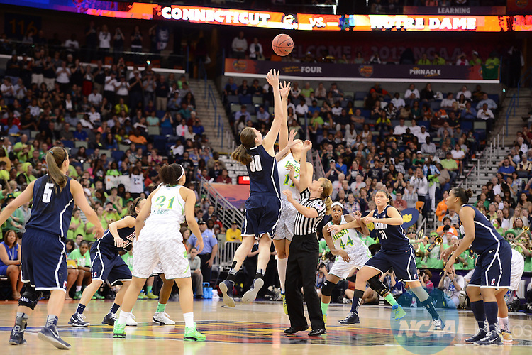 07 APR 2013:  The opening tip off of the Notre Dame vs UCONN Semifinal game during the Division I Women's Basketball Championship held at the New Orleans Arena in New Orleans, LA. Uconn defeated Notre Dame 83-65 to advance to the championship game. Stephen Nowland/NCAA Photos