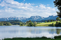 Germany, Bavaria, Swabia, East-Allgaeu, near Seeg: Lake Schwaltenweiher - reservoir and swimming lake at alpine upland  | Germany, Bavaria, Swabia, East-Allgaeu, near Seeg: Lake Schwaltenweiher - reservoir and swimming lake at alpine upland, castle ruins Hohenfreyberg and Eisenberg atop the wooded hills | Deutschland, Bayern, Schwaben, Ost-Allgaeu, bei Seeg: Schwaltenweiher - Stausee und Badesee im Voralpenland, auf der bewaldeten Huegelkette liegen die Burgruinen Hohenfreyberg und Eisenberg