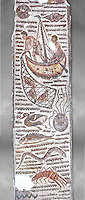 Late 4th century AD Roman mosaic depiction a fishing scene. From Cathage, Tunisia.  The Bardo Museum, Tunis, Tunisia. Grey background