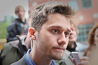 FECQ spokesperson Leo Bureau-Blouin speaks to the medias before a meeting with Quebec education Minister Michelle Courchesne in Quebec City Tuesday May 29, 2012. The students and the Quebec government meet for the second day in a row to try to solve a strike over tuition fee that goes for more than 100 days.