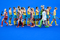 2nd February 2020; Sydney Olympic Park, Sydney, New South Wales, Australia; Womens International FIH Field Hockey, Australia versus Great Britain Women; Australia and Great Britain shake hands before the match