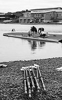 Nottingham. United Kingdom. <br /> <br /> A Quadruple Scull, crews sculls, laided out, on the pebbled beachcat the  GB Masters Championships, National Water Centre, Holme Pierrepont<br /> <br /> Saturday   10/06/2017<br /> <br /> <br /> [Mandatory Credit Peter SPURRIER/Intersport Images]