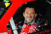 Oct. 10, 2009; Fontana, CA, USA; NASCAR Sprint Cup Series driver Tony Stewart during practice for the Pepsi 500 at Auto Club Speedway. Mandatory Credit: Mark J. Rebilas-