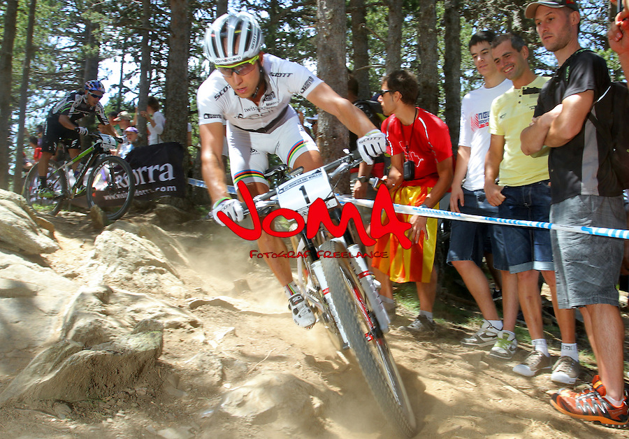 27.07.2013 La Massana, Andorra. UCI Mountain Bike World Cup. Picture show Nino Schurter (SUI)) in action during Cross-Country Final at Vallnord