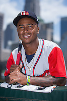 Gwinnett Braves shortstop Ozzie Albies (2) poses for a photo prior to the game against the Charlotte Knights at BB&T BallPark on May 22, 2016 in Charlotte, North Carolina.  The Knights defeated the Braves 9-8 in 11 innings.  (Brian Westerholt/Four Seam Images)