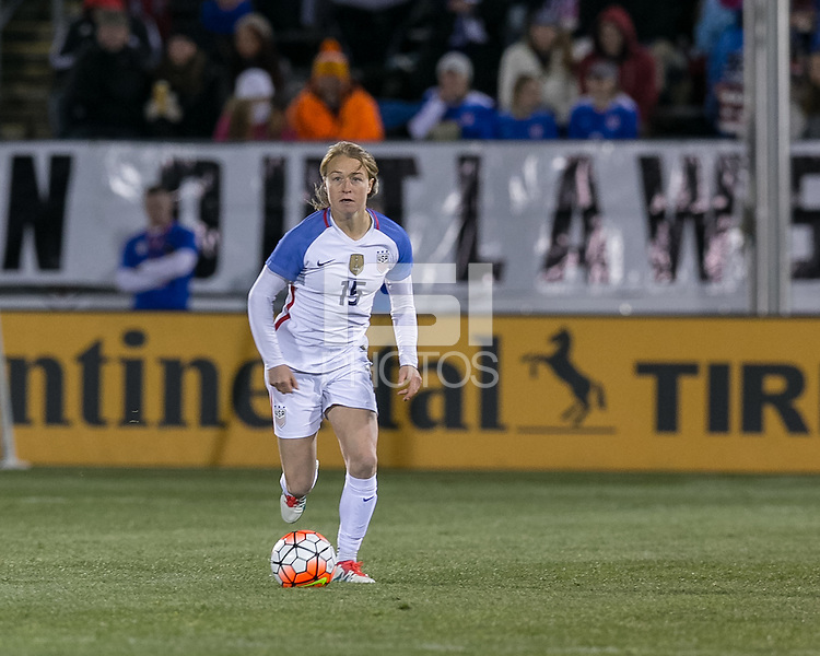 East Hartford, Connecticut - April 6, 2016: International friendly. U.S. Women's National Team (USWNT) (white) defeated Colombia (yellow), 7-0, at Pratt and Whitney Stadium on Rentschler Field.