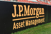 20130801 Copyright onEdition 2013 ©<br /> Free for editorial use image, please credit: onEdition.<br /> <br /> JP Morgan perimeter branding before the J.P. Morgan Asset Management Premiership Rugby 7s Series.<br /> <br /> The J.P. Morgan Asset Management Premiership Rugby 7s Series kicks off for the fourth season on Thursday 1st August with Pool A at Kingsholm, Gloucester with Pool B being played at Franklin's Gardens, Northampton on Friday 2nd August, Pool C at Allianz Park, Saracens home ground, on Saturday 3rd August and the Final being played at The Recreation Ground, Bath on Friday 9th August. The innovative tournament, which involves all 12 Premiership Rugby clubs, offers a fantastic platform for some of the country's finest young athletes to be exposed to the excitement, pressures and skills required to compete at an elite level.<br /> <br /> The 12 Premiership Rugby clubs are divided into three groups for the tournament, with the winner and runner up of each regional event going through to the Final. There are six games each evening, with each match consisting of two 7 minute halves with a 2 minute break at half time.<br /> <br /> For additional images please go to: http://www.w-w-i.com/jp_morgan_premiership_sevens/<br /> <br /> For press contacts contact: Beth Begg at brandRapport on D: +44 (0)20 7932 5813 M: +44 (0)7900 88231 E: BBegg@brand-rapport.com<br /> <br /> If you require a higher resolution image or you have any other onEdition photographic enquiries, please contact onEdition on 0845 900 2 900 or email info@onEdition.com<br /> This image is copyright the onEdition 2013©.<br /> <br /> This image has been supplied by onEdition and must be credited onEdition. The author is asserting his full Moral rights in relation to the publication of this image. Rights for onward transmission of any image or file is not granted or implied. Changing or deleting Copyright information is illegal as specified in the Copyright, Design and Patents Act 1988. If you are in any way unsure of your right to publish this image please contact onEdition on 0845 900 2 9