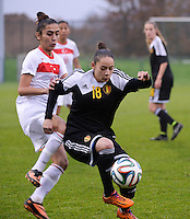 20141126 - TUBIZE , BELGIUM : Belgian Lola Wajnblum (Right) pictured with Turkish Emine Demir (left) during the Friendly female soccer match between Women under 19 / 21  teams of  Belgium and Turkey .Wednesday 26th November 2014 . PHOTO DAVID CATRY