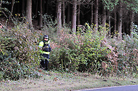 Pictured: Police at the scene where the body of 15 year old Rebecca Aylward was discovered. Monday 25 October 2010<br />