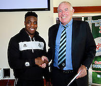 Man of the match presentation by David Hughes at the end of the U19's game between London Broncos and Catalans at Ealing Trailfinders, Ealing, on Sun May 1, 2016