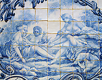PRT, Portugal, Algarve, Estói: Fliesenbild - Azulejos - im Palast | PRT, Portugal, Algarve, Estói: Azulejo at the palace