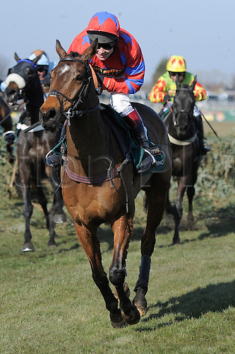 06.04.2013 Aintree, England.  The Grand National Festival. John Smith's Liverpool Hurdle. Action from the last fence