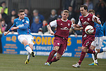 Fraser Aird crashes a shot off the underside of the bar