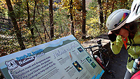 NWA Democrat-Gazette/FLIP PUTTHOFF <br />Signs at pull-off areas of the byway tell the history, geology and wildlife in the area.