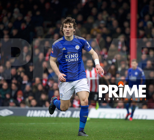 Caglar Soyuncu of Leicester City during the FA Cup 4th round match between Brentford and Leicester City at Griffin Park, London, England on 25 January 2020. Photo by Andy Aleks.