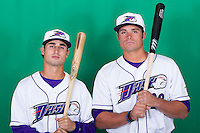 Michael Johnson (5) and Grant Buckner (28) of the Winston-Salem Dash pose for a photo during Media Day at BB&T Ballpark on April 1, 2014 in Winston-Salem, North Carolina (Brian Westerholt/Four Seam Images)