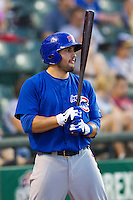 Iowa Cubs outfielder Anthony Giansanti (4) on deck against the Round Rock Express in the Pacific Coast League baseball game on July 21, 2013 at the Dell Diamond in Round Rock, Texas. Round Rock defeated Iowa 3-0. (Andrew Woolley/Four Seam Images)