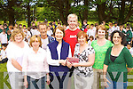 Killarney Monastary NS parents committee makes a presentation to Angela Barry in recognition of her retirement after 40 years of teaching in the school at the annual sports day on Tuesday l-r: Angela Brosnan, Mary O'Shea, David Musgrave, Angela Barry, Colm O'Suilleabhain Principal, Aileen Murphy, Nuala Doolan and Audrey O'Leary