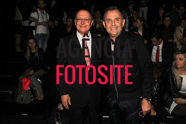 Sao Paulo, Brasil - 31/10/2013 - geraldo Alckmin e Paulo Borges no Desfile de Colcci durante o SPFW  - Inverno 2014. Foto : Edu Lopes/ FOTOSITE
