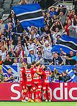 Stockholm 2015-07-27 Fotboll Allsvenskan Hammarby IF - IFK Norrk&ouml;ping :  <br /> Norrk&ouml;pings Emir Kujovic med lagkamrater firar 1-0 m&aring;let framf&ouml;r Norrk&ouml;pings supportrar under matchen mellan Hammarby IF och IFK Norrk&ouml;ping <br /> (Foto: Kenta J&ouml;nsson) Nyckelord:  Fotboll Allsvenskan Tele2 Arena Hammarby HIF Bajen IFK Norrk&ouml;ping jubel gl&auml;dje lycka glad happy supporter fans publik supporters