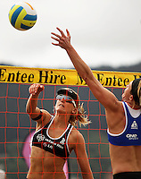 NZ's Susan Blundell beats Germany's Helke Classen at the net during the 2009 McEntee Hire NZ Beach Volleyball Tour - Women's final at Oriental Parade, Wellington, New Zealand on Sunday, 11 January 2009. Photo: Dave Lintott / lintottphoto.co.nz.