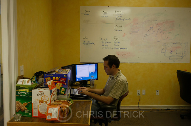 """Developer Brandon Bickmore works at the Screen-Scraper office in Provo, Utah Thursday October 7, 2010.  Screen-Scraper specializes in extracting data on the internet and has business since 2002..CREDIT: Chris Detrick for The Wall Street Journal.""""WTKSCRAPE"""""""