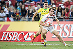 Harry Glover of England runs with the ball during the match Australia vs England, the Bronze Final of Day 2 of the HSBC Singapore Rugby Sevens as part of the World Rugby HSBC World Rugby Sevens Series 2016-17 at the National Stadium on 16 April 2017 in Singapore. Photo by Victor Fraile / Power Sport Images