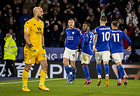 Leicester City's Jamie Vardy (centre) celebrates scoring his side's second goal from the penalty spot <br /> <br /> Photographer Andrew Kearns/CameraSport<br /> <br /> The Premier League - Leicester City v Aston Villa - Monday 9th March 2020 - King Power Stadium - Leicester<br /> <br /> World Copyright © 2020 CameraSport. All rights reserved. 43 Linden Ave. Countesthorpe. Leicester. England. LE8 5PG - Tel: +44 (0) 116 277 4147 - admin@camerasport.com - www.camerasport.com